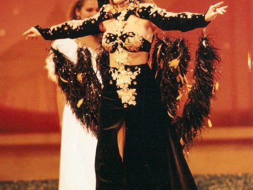Didie Schackman tijdens Miss World Show Zuid-Afrika 1995