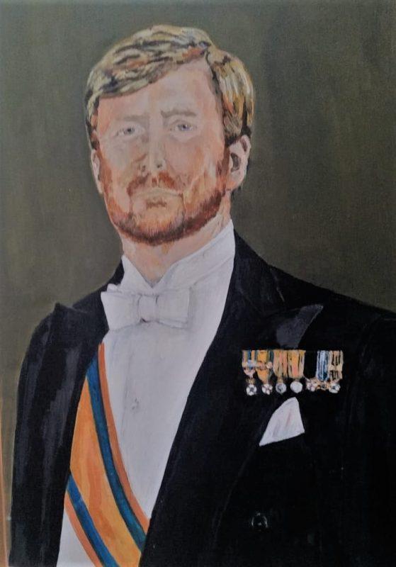 schilderij Willem Alexander met baard